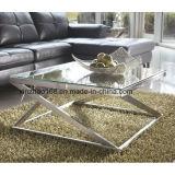 Tavolino da salotto di vetro piegato con colore dorato