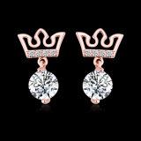 Juwelen Palted van de Oorringen van het Kristal van de Vorm van de kroon de Gouden 18K