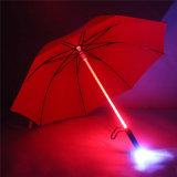 밤 빛 홀더 롤러 방수 방풍 우산에 번쩍여 플라스틱 빨간 하이킹 비 투명한 LED 우산 남자 여자