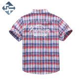 100%とかされた綿の男の子の短い袖のワイシャツか子供のYarn-Dyed小切手のワイシャツ