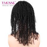 Yvonne Virgin 브라질 머리 180% 조밀도 비꼬인 꼬부라진 레이스 정면 가발