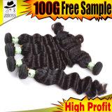 6Aインドの毛の拡張の自然で黒い二重よこ糸