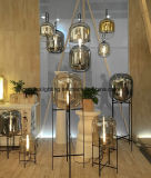 Modernes schwarzes Hauptmetalldekorative Glasstandplatz-Fußboden-Lampe