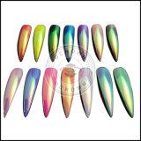 マニキュアのためのユニコーンのオーロラのクロムミラーの粉の虹の構成の塵の釘の芸術DIYの顔料