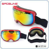 Óculos de proteção polarizados do esqui da lente do irídio dos esportes ao ar livre de óculos de proteção de segurança do skate da neve do tratamento da novidade frame preto Antifog Shatterproof