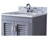 Vanité simple grise de salle de bains de bassin d'Undermount
