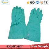 Vert les gants en nitrile long travail de l'industrie (JMC-091A)