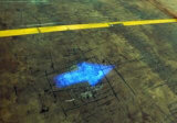 青い点の安全警報灯のトヨタのフォークリフトの安全燈