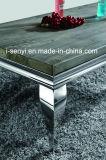 Классический столовая мебель из стекла и дерева и мрамора верхней части обеденный стол из нержавеющей стали