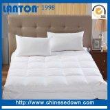 Blanco/Gris de lujo de colchón de plumón de pato