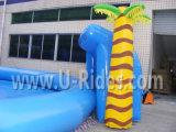 Большой надувной бассейн в сочетании с надувной слайд