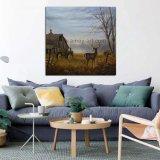 壁の装飾のためのハンドメイドの北欧のバックラムの絵画シカそして納屋の家