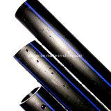 Труба водоснабжения гибкого черного HDPE SDR11 Dn 90mm поли с голубой нашивкой