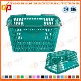 Paniers à provisions portatifs de double en métal supermarché coloré de traitement (Zhb106)