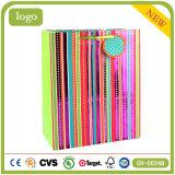 Revestido de arte coloridas rayas Compras bolsas de papel de regalo