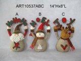 Decoração da HOME do Natal da rena do boneco de neve de Santa com sinal do cumprimento