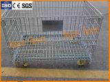 帽子および車輪との倉庫の記憶のための鋼線の網パレット容器