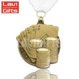 Медаль спорта пожалования формы покера таможни 3D стародедовское медное