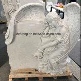 2018 de Nieuwe Grafsteen van het Hart van het Monument van het Ontwerp Witte Marmeren met het Huilen van de Vleugels van de Engel voor Begraafplaats