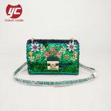 С другой стороны Crossbody Sequin Леди сумка с цветком Jewel оформление