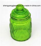 Colorir o recipiente de vidro de vidro de potenciômetro do armazenamento com o frasco de vidro do armazenamento do alimento do frasco do armazenamento dos doces da tampa