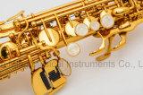 De goede Rechte Goedkope Prijs Wholesales van de Fabrikant van de Lak van de Saxofoon van de Discant Gouden