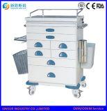 Carro/carretilla de la emergencia médica del uso general del ABS de los muebles del hospital