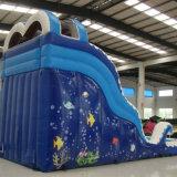 Blaues aufblasbares Plättchen mit Pool