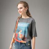 女性のカスタム円形の首の不足分はTシャツにスリーブを付ける