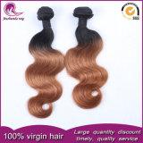 インドのRemyの毛のよこ糸2tカラー1b#ブラウンボディ波の毛