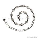 Cinghie Chain Hip del metallo della vita a cristallo del Rhinestone dell'oro e dell'argento di modo