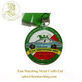工場価格の名誉のフィニッシャーの円形浮彫りのギフトの緑メダルリボン