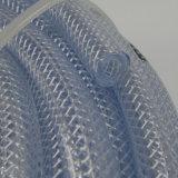 Grau Alimentício transparente o trançado de fibra de PVC flexível reforçado a mangueira de água