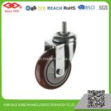 4 pouces de la plaque pivotante avec frein de roue unique moyen de pu devoir la roulette-guide (P120-36EC100X32Z)