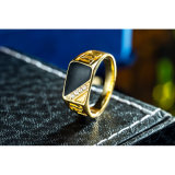 Ring van de Mensen van het Bergkristal van de gouden-Kleur van grootte 7-12 de Klassieke