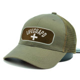 カスタムオリーブ色の刺繍パッチ6のパネルのトラック運転手の網の帽子