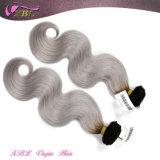 2015最も熱い販売のOmbreカラーバージンのインドの灰色の毛の織り方