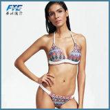 Reizvolle der Bikini-gesetzte Frauen-Badeanzug drücken Badeanzug-Weibchen hoch