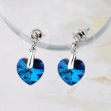 Azul zafiro Cristal corazón de San Valentín Regalo Bisutería pendientes gota de oro