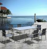 Очень красивый дизайн сада столовая со стульями и каркас из нержавеющей стали