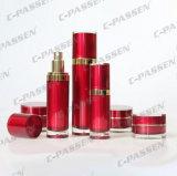 中国の化粧品の包装のための赤いアクリルのクリーム色のローションのびん(PPC-ALB-038)