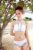 순수한 백색 #53 형식 다채로운 스포츠 고정되는 Sandbeach 수영복