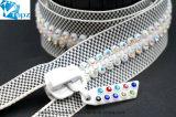 Custom красочные открытый конец стразами декоративной застежкой на молнию алмазов (серый + белый/Crystal ab/ZP-12)