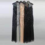 Der reizvollen Frauen sehen durch Sequins gebördelte Nettofußboden-Längen-Abend-Kleider