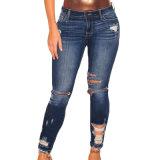 Les femmes Denim bleu foncé détruit la longueur de la cheville Skinny Jeans