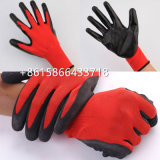 織り目加工の乳液のコーティングの魅惑的な手袋が付いているよりよいグリップのナイロン手袋は、終了するにしわを寄せる