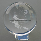 120mm gravada a laser 3D em vidro transparente Crystal Clear Ball