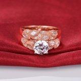 Chapado en oro rosa de diseño de hoja de juego de anillo nupcial