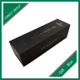 Matt Black Surface with Gold Stamping Logo Wine Box