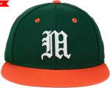 Venta al por mayor anaranjada verde del sombrero del casquillo del Snapback del bordado del algodón 3D